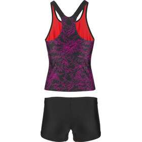 speedo Boom Allover Tankini Naiset, black/electric pink